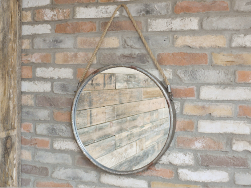 Galvanised Metal Round Hanging Mirror